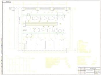 Чертеж плана участка по изготовлению штока верхнего с техническими характеристиками