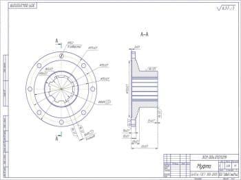 Чертеж детали муфта из материала Ст3Гпс ГОСТ 380-2005. Масса муфты составляет 3,06 кг. Чертеж в масштабе 1:1