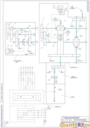 3.Кинематическая схема привода подач простого вертикального суппорта, формат А1