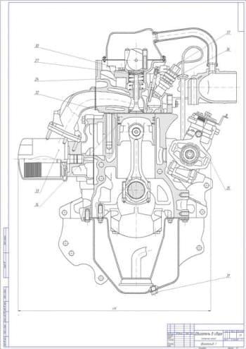 Чертеж вид общий двигатель 2L-T