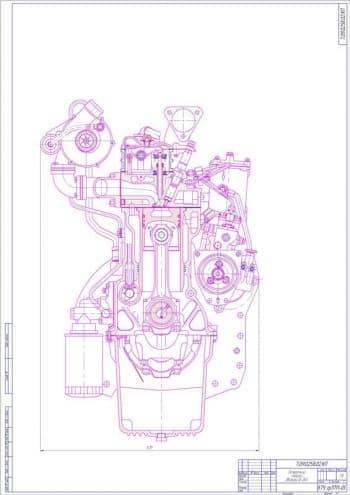 Чертеж общего вида Продольного разреза двигателя д-245 в масштабе 1:2, (формат А1)
