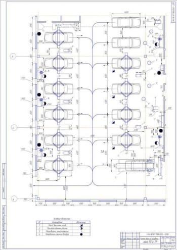3.Участок детальной разработки – зона технического обслуживания ТО и текущего ремонта ТР – планировочное решение (формат А1)