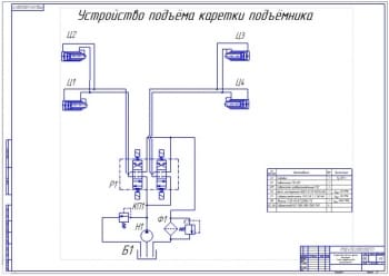 3.Устройство подъёма каретки подъемника. Схема гидравлическая принципиальная (формат А1)