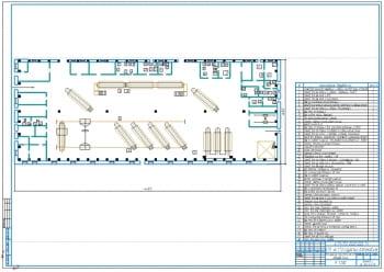 3.Чертеж плана производственного корпуса с расстановкой  и размещением технологического ремонтного оборудования А1