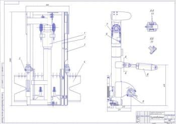 4.Сборочный чертеж грузоподъемника с указанными размерами (формат А1)