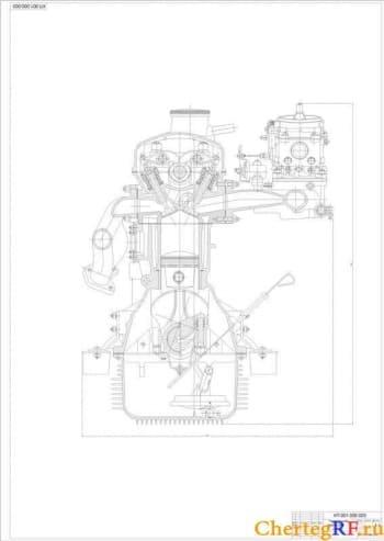 Чертежи двигателя внутреннего сгорания автомобиля Москвич 412