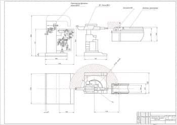 4.Сборочный чертеж промышленного модуля на основе горизонтально-фрезерного станка 6Н82Г в масштабе 1:16, с техническими размерами (формат А1)