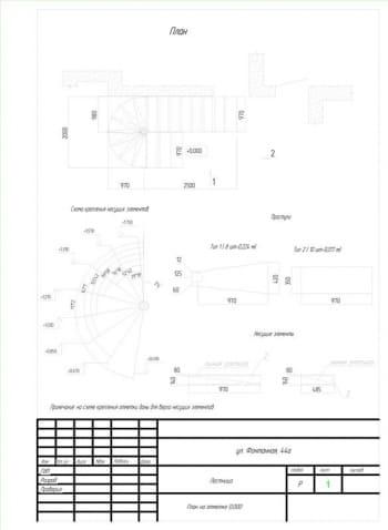 4.Чертеж плана лестницы на отметке 0.000 со схемой крепления несущих элементов и с примечанием: на схеме крепления отметки даны для верха несущих конструкций (формат А4)