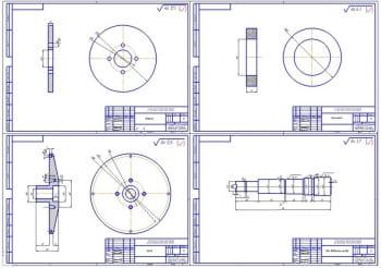 4.Деталировка конструкции (формат 4хА3): втулка, прокладка, шкив, вал ведомого шкива