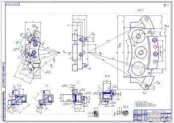 4.Рабочий чертеж правой части переднего правого суппорта мотоцикла (формат А1)