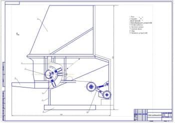 4.Схема измельчителя (формат А1): 1. Рама 2. Барабан 3.Шкив ведомый