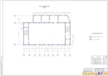 Архитектурно-строительный чертеж плана на отметке 1500 производственного корпуса
