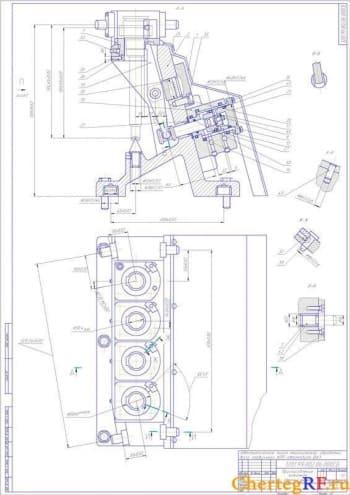 Сборочный чертеж зажимного приспособления с размерами (формат 2хА1)