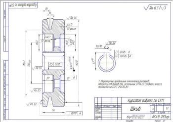 4.Шкив – рабочая деталь (формат А3)