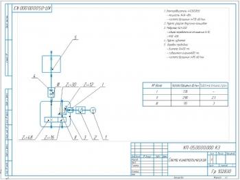 4.Кинематическая схема с указанием частоты вращения валов I – 735