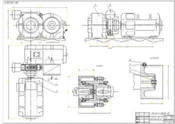 Чертеж сборочный механизма подъема с указанием размеров и выносом сечений элементов сборки (формат А1)