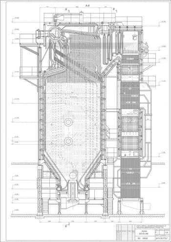 5.Чертеж вида общего котла БКЗ-50-39Ф в масштабе 1:25, с указанием всех размеров (формат А4)