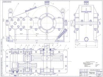 Чертежи привода к винтовому конвейеру для транспортирования зерна с комплектом деталей