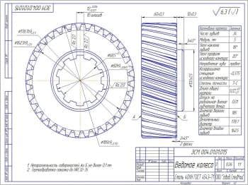 5.Чертеж детали ведомого колеса с техническими требованиями