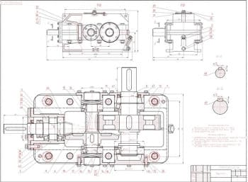 Комплект готовых чертежей привода в сборе с редуктором и чертежами деталей