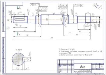 5.Рабочий чертеж детали вал (формат А3)