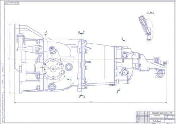 Чертежи общего вида коробки передач переднеприводного автомобиля с рабочими деталями
