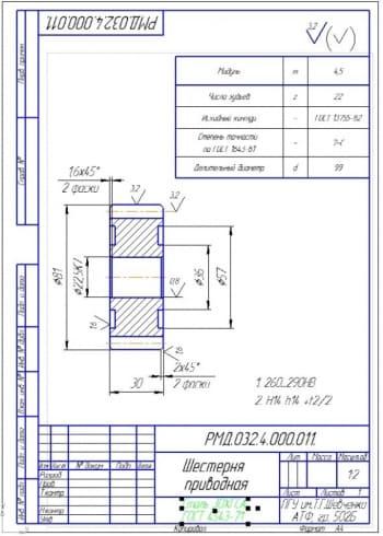 5.Деталь приводная шестерня (формат А4)