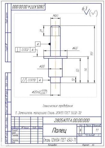5.Деталь палец из материала Сталь 12ХН3А (формат А4)