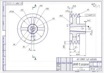5.Шкив в разрезе – чертеж (формат А3)