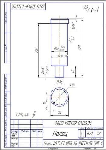 5.Рабочий чертеж пальца А4
