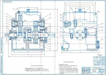 Конструкция двухступенчатого соосного вертикального редуктора