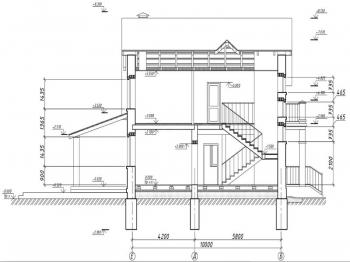 5.Жилой дом в разрезе по осям Е-Б