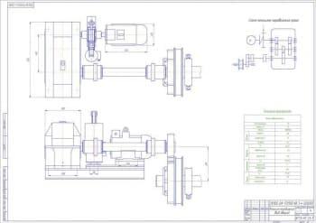 Чертеж общего вида передвижного механизма крана с техническими характеристиками и кинематическая схема передвижения крана (формат А1)