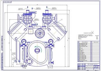 6.Общий вид компрессора аммиачного двухступенчатого ДАУ50 (формат А1)