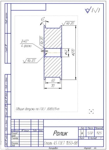 6.Рабочий чертеж ролика (формат А4)