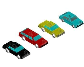 6.Общего вида чертеж четырех автомобилей легковых в 3D формате