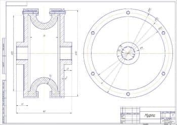 6.Детальный чертеж муфты с указанными размерами, в масштабе 1:1 (формат А2)