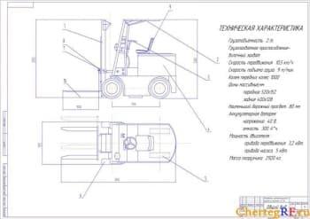 Набор чертежей модернизированного электропогрузчика
