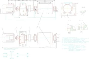 Чертежи привода ленточного транспортера, соосного редуктора привода с деталировкой