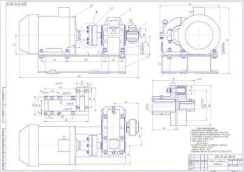 Сборочный чертеж привода с цилиндрическим редуктором в комплекте со сборочным чертежом редуктора и деталировкой конструкции