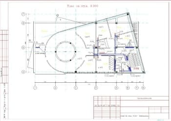 7.Чертеж плана вентиляции на отметке 9.900 с указанными величинами конструкции (формат А3)