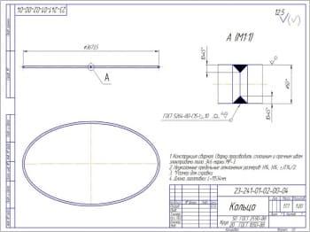 Деталь - кольцо из круга 50 по ГОСТу 2590-88/20 по ГОСТу 1050-88. в масштабе 1:20 (формат А3)