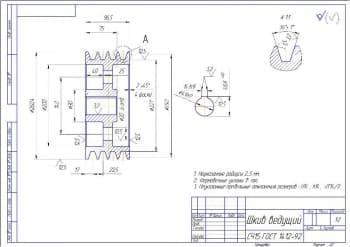 7.Деталировочный чертеж шкива ведущего в масштабе 1:2