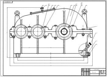 Чертежи общего вида привода в сборе с редуктором с комплектом чертежей деталей