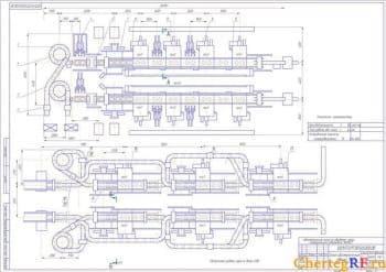 Чертеж общего вида автоматической линии с техническими характеристиками: производительность Т 164 шт/час