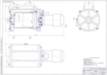 Чертеж сборочный. Таль электрическая, канатная в трех проекциях с нанесением размеров.