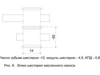 8.Чертеж эскиза шестерен масляного насоса с техническими характеристиками: число зубьев шестерни – 12; модуль шестерни – 4,5; КПД – 0,8. На эскизе отмечены размер диаметра и размер детали шестерни.