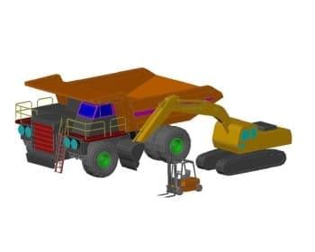 8.Чертеж вида общего автомобиля грузового, экскаватора и погрузчика в 3D формате
