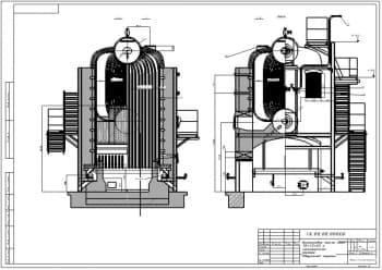 8.Чертеж СБ компоновки котла ДКВР 10-13-23 с газомазутной топкой в масштабе 1:25, с указанными размерами (формат А2)