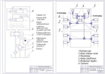 9.Чертежи гидравлической схемы рулевого управления вездехода с указанными деталями
